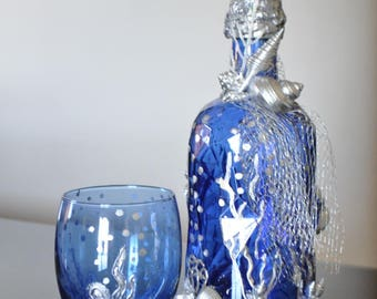 Decorative blue sea bottles,upcycled bottles, coral bottle ,blue glass,house warming gift, jute, bottle decor, centerpiece, home decor,table