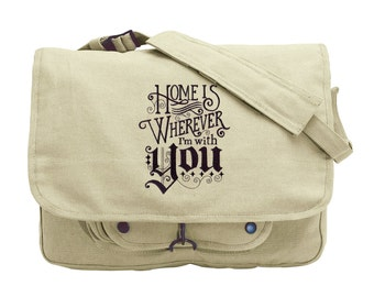 Where the Coffee Is Embroidered Canvas Messenger Bag