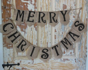 Merry Christmas Banner Bunting Burlap Holiday