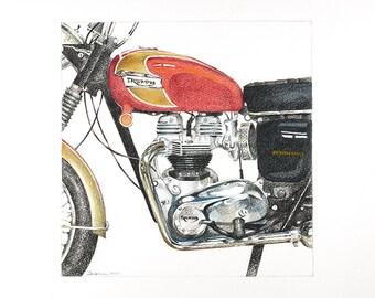 Triumph Bonneville Motorcycle, fine art giclée bike print