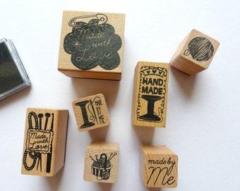 Stamp set stamps handmade Knitting Crochet