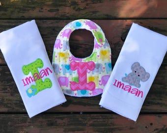Elephant Baby Bib Set - Personalized - Elephant Themed Baby Set - Burp Cloths - Baby Bib - Boy or Girl - Elephant Baby Shower Gift