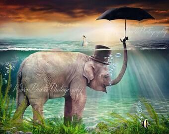 Whimsical Elephant, Under the sea, Elephant with Umbrella, Funny Elephant Art, Funny animal Art, Swimming Elephant, Elephant Lover
