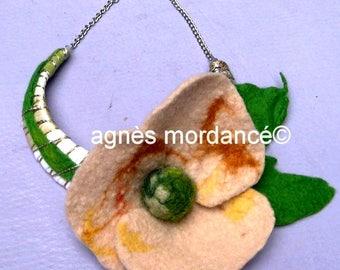 "Bohemian necklace, flower felted wool, silver, unique, ""Bagatelle"""