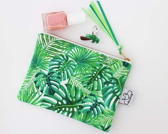 Tropical zipper pouch, Green coin purse with an original ANJESY design