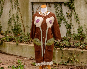 Upcycled Cardigan Sweater Jacket • Duster Sweater with Lace • Gypsy Hippie Clothing Sweater • Boho Sweater Loose for Women • Size Large