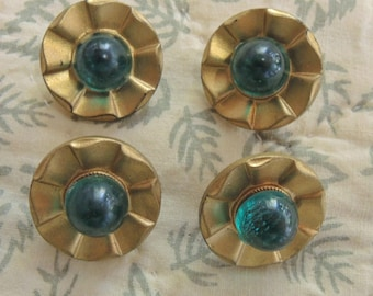 Vintage Buttons - Gold Tone Plastic And Glass Buttons - Four Green And Gold Buttons - Mid Century Buttons - 23mm Buttons