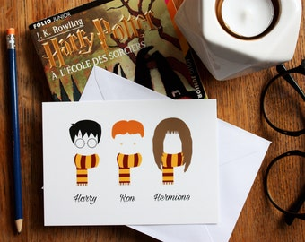 Carte A6 Harry Potter, Ron, Hermione, illustration, personnages