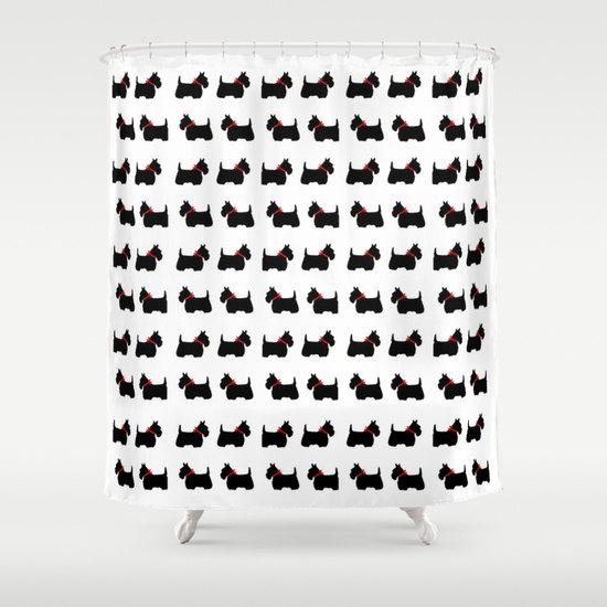 Scotty Dog Shower Curtain, Scottie Dog Bathroom Decor, Modern Home ...