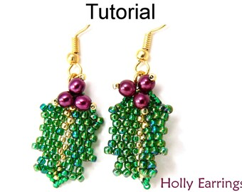 Christmas Beading Tutorial Pattern - Beaded Earrings - Holiday Jewelry Making - Simple Bead Patterns - Holly Earrings #10001