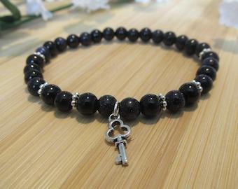 BRACELET galaxy black bracelet - glass beads - silver key charm