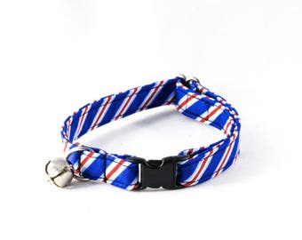 Preppy Red White and Blue Patriotic Stripes Kitty Cat Collar