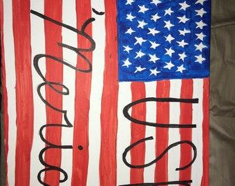 Original Painting of American Flag-USA 'Merica