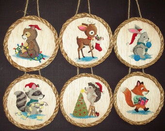 Woodland Ornaments, Set of 6, Christmas Ornaments, Woodland Baby Animals, Woodland Gift Tags, Woodland Babies, Animal Babies, Embroidery Art