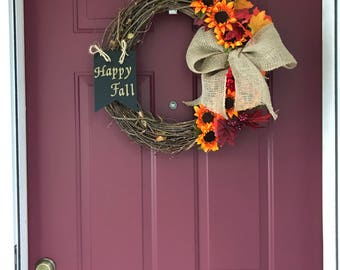 """Fall Grapevine Wreath for Front Door With """"Happy Fall"""" Sign, Silk Sunflowers and Leaves, and Burlap Bow"""