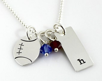 Football Necklace - Personalized sterling silver necklace with football charm, initial charm, and Swarovski crystals | football gift