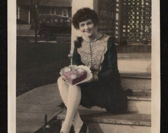 Vintage Hand Tinted Photo Pretty Woman Poses with Heart Shaped Cake 1930's, Original Found Photo, Vernacular Photography