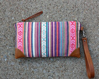 Ethnic Tribal Style Fabric Wristlet  / Aztec Clutch