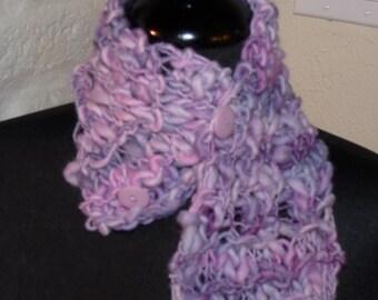 Hand Knitted Neckwarmer  LAVENDER SWIRL