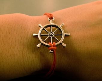 Ship Wheel Bracelet: Nautical, Adjustable, Colour Choice, Sailor, Ocean, Cotton Cord, Anchor Bracelet