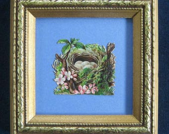 Nature Inspired Gift Vintage Bird Decor Birds Nest Eggs Die Cut Pink Blossoms Framed