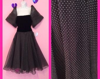 Beautiful 1980s Gothic Lolita Polka Dot Prom Party Dress