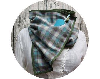 XXL cloth, winter scarf, winter towel, winter, autumn, scarf, shawl, button scarf, wrap scarf, checkered, diamonds, turquoise, cotton, grey