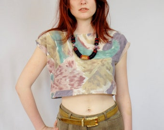 Pastel brushed graphic print cap sleeve crop top UPCYCLED