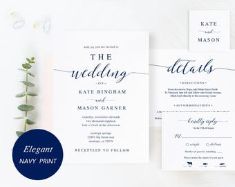 Printable Wedding Invitation Template, Wedding Invitation Set, DIY Wedding Cards, Download, Modern Calligraphy, Rustic Wedding #SPP008iiwis