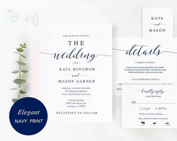 Wedding Invite Templates Uk: Printable Wedding Invitation Template Wedding Invitation Set