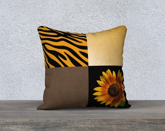 Sunflower and Zebra Stripe Throw Pillow Cover, Animal Print Flower and Patch Work Pattern Throw Cushion Cover, Modern Country Chic Decor