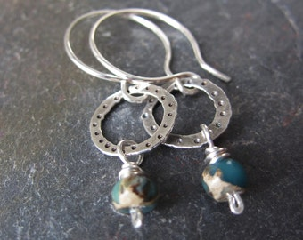 Serpentine Impression Stone Drop Earrings - handmade silver earrings with impression stone - hammered silver