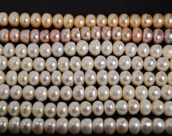 9X7mm B grade button pearls, cultured freshwater pearls, one full 15-inch strand, natural white color