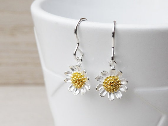 Silver Daisy Earrings - Sterling Silver With Gold Detailing