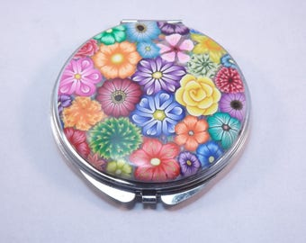 Colorful Millefiori Floral Polymer Clay Embellished Compact Purse Mirror
