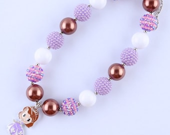 Sofia the First inspired chunky bead necklace