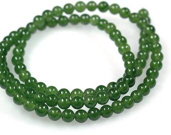 AAA Rated Genuine Green Nephrite Jade Beads, 16'' Strand ( 3mm- 10mm ). 817-801