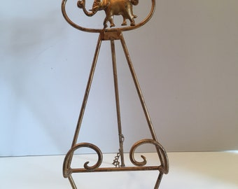 Elephant Display Easel ~ Plate or Picture Holder ~ Display Stand ~ Metal ~ Shabby Chic ~ Victorian ~ Vintage