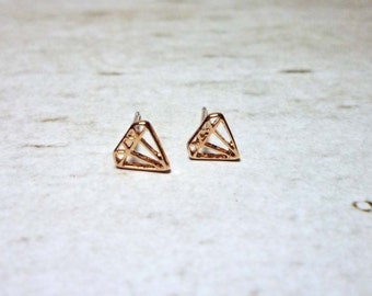 Mini Diamond Outline Stud Earrings, Dainty Earrings - Rose Gold