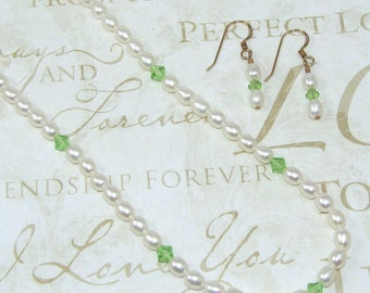 Pearl Necklace and Earring Set with Green Crystals, Genuine 18 Inch Pearl Jewelry Set, Pearl and Green Crystal Bridal Set