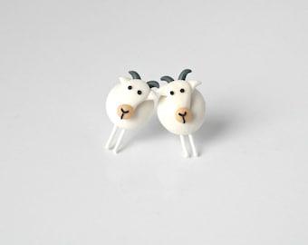 White goat - Farmer Collection earrings