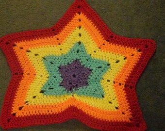 Ready to Ship!  Crochet Rainbow Baby Blanket