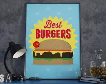 Best Burgers, Burger Print. A3 Poster.