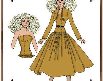 Email PDF - Silkstone Barbie Doll Clothes Pattern - Dress, Jacket - No. PDF-124SB