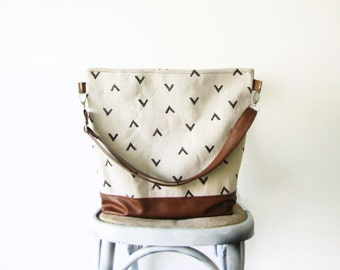 Geometry Hobo Bag Crossbody Bag, Canvas and vegan Leather, Hand printed bag, Large Bag, Casual