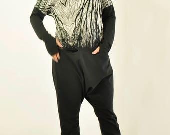NEW black end White Extravagant Loose Jumpsuit/Plus size jumpsuit/Maxi Harem jumpsuit/Drop crotch jumpsuit/Black jumpsuit by Gabyga/J0368