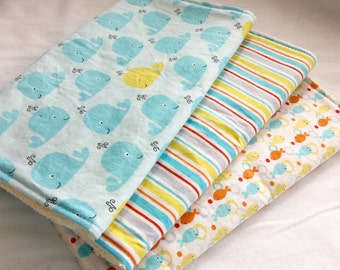 Burp Cloth Gift Set for Baby Boy - Modern Essentials - Whale Toss in Blue and Yellow