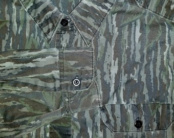 Vintage 80's Walls Realtree Camo Button Front Shirt Large Hunting