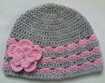 Crochet Baby Kids Toddler Hat Beanie children gift girl flower
