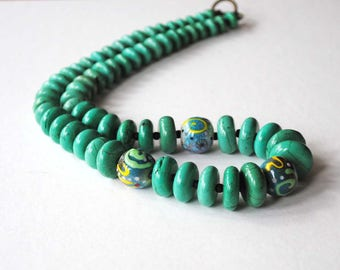 Turquoise Blue Necklace, Lampwork Bead Necklace, Colorful Necklace, Graduated Necklace, Stone Bead Necklace, Long Necklace